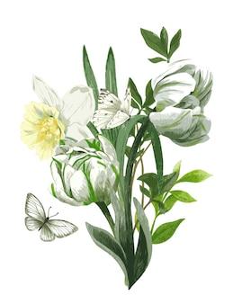 白い花、チューリップと水仙、そして蝶と緑豊かな春の花束。手描きの水彩イラスト。