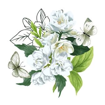 白いジャスミンの花と蝶と緑豊かな春の花束。手描きの水彩イラスト。