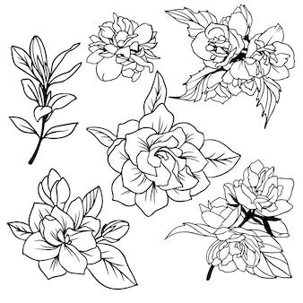 葉、ベクトルアートと緑豊かな春の花