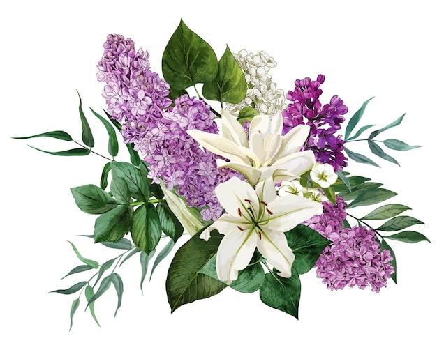흰 꽃과 라일락과 무성한 여름 꽃다발. 손으로 그린 수채화 그림.