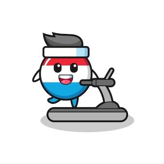 Значок флага люксембурга мультипликационный персонаж, идущий на беговой дорожке, милый стиль дизайна для футболки, наклейки, элемента логотипа