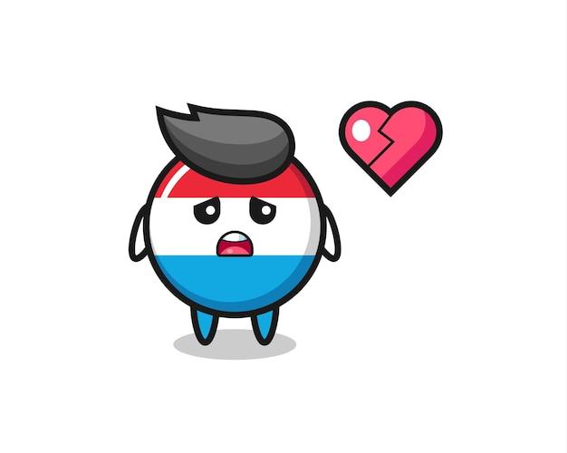 Иллюстрация шаржа значка флага люксембурга - разбитое сердце, милый стиль дизайна для футболки, наклейки, элемента логотипа