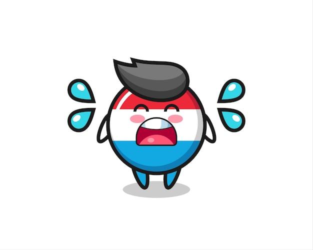 Значок флага люксембурга карикатура иллюстрации с жестом плача, милый стиль дизайна для футболки, наклейки, элемента логотипа