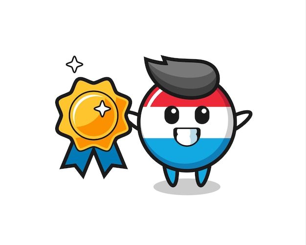 Luxembourg flag badge mascot illustration holding a golden badge , cute style design for t shirt, sticker, logo element