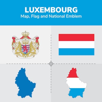 Luxembourg map, flag and national emblem