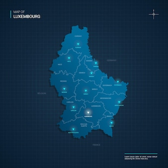 Карта люксембурга с точками синего неонового света