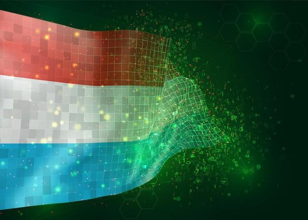 Люксембург, на вектор 3d флаг на зеленом фоне с многоугольниками и номерами данных
