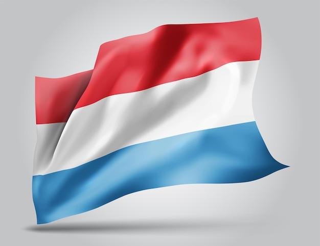 Люксембург, векторный флаг с волнами и изгибами, развевающимися на ветру на белом фоне.