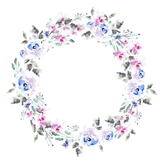 Luxuriant floral wreath watercolor style