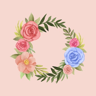 Luxuriant floral wreath in watercolor style