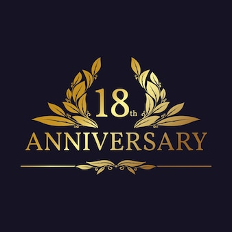 Luxurious 18th anniversary logo with golden ornaments