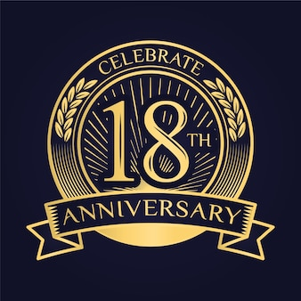 Luxurious 18th anniversary logo