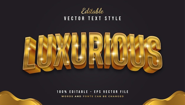 Luxurious 3d golden text style with curved effect