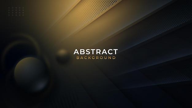 Роскошный абстрактный фон со светящейся диагональной линией, золотым оттенком и бусинами из темного шара