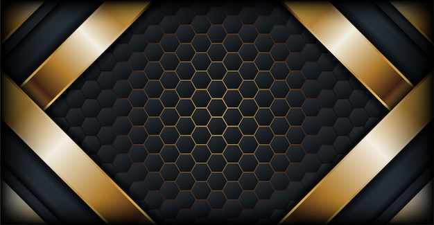 Luxurious abstract hexagon background with gold line