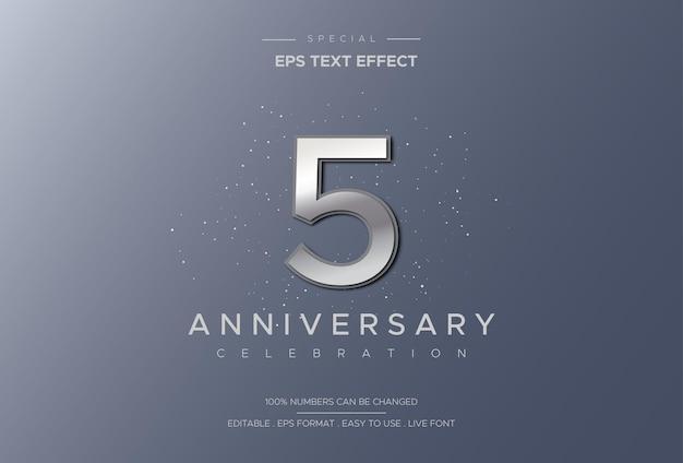 Роскошный и элегантный текстовый эффект празднования пятилетия с серебряными цифрами