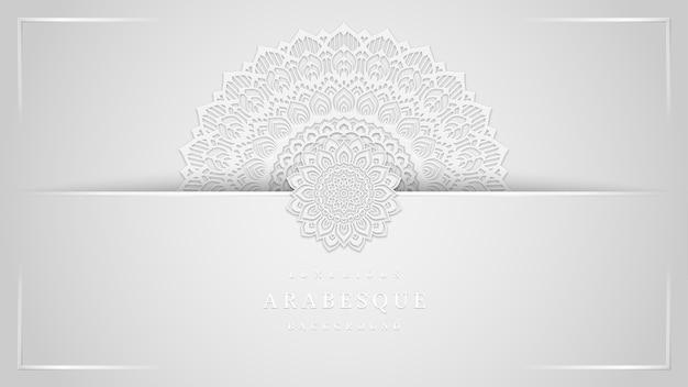 きれいな白いマンダラスタイルのアートと豪華な唐草模様の背景