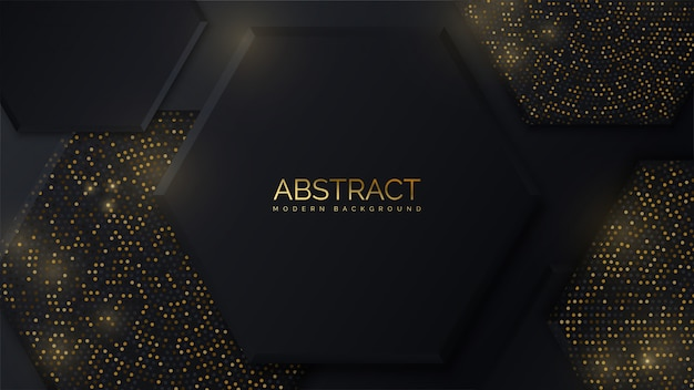 Luxurious background with elegant black and gold hexagon shape