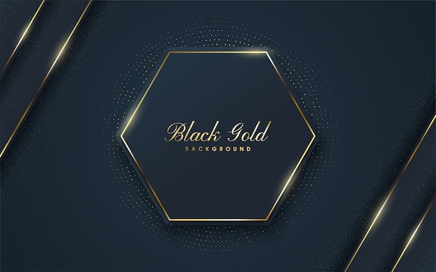 A luxurious background with illustrations of black hexagon shapes with a gold outline on the edges.