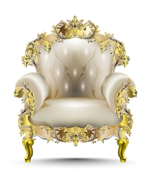 Luxurious baroque armchair soft textile. vector realistic 3d designs. golden carved orname