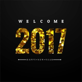 Luxurious black new year background with golden numbers