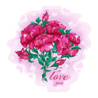 빨간 장미의 고급스러운 꽃다발