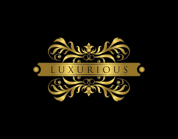 Luxurious boutique logo golden floral badge design  for royalty letter stamp boutique  hotel heraldic jewelry wedding