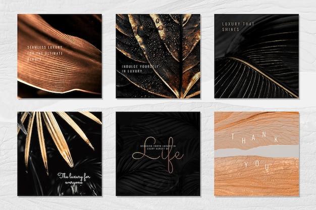 Роскошный брендинг на ресурсе дизайна коллекции фона листьев