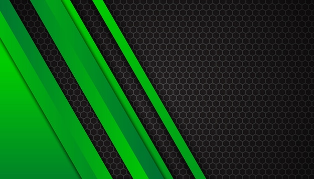 Luxurious bright green lines on dark hexagon background