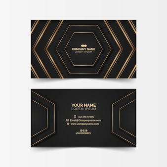 Luxurious business card with golden shapes