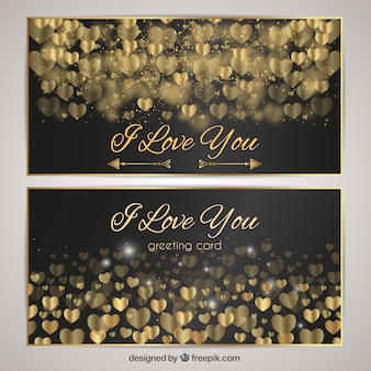 Luxurious cards with golden hearts