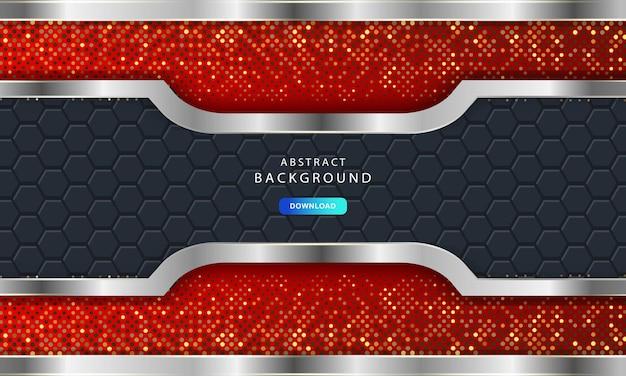 カーボンファイバーの六角形のテクスチャーを備えた豪華な暗い背景。金属線のあるモダンな背景。抽象的な未来的な豪華な赤い背景。