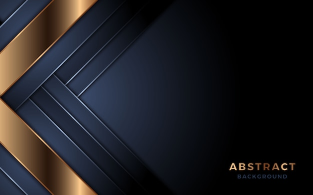 Luxurious dark navy background with golden lines combination. premium vector