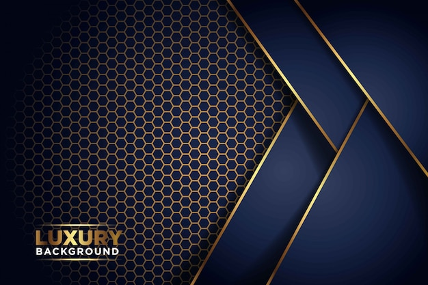 Luxurious dark navy gold line overlap with hexagon mesh pattern combination. elegant modern futuristic background