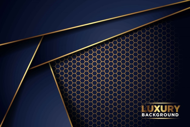豪華なダークネイビーゴールドのラインが六角形のメッシュパターンの組み合わせと重なっています。エレガントでモダンな未来的な背景