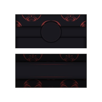 신 패턴의 마스크가 있는 검은색 엽서의 고급스러운 디자인. 텍스트를 위한 장소와 폴리제니안 스타일 장식의 얼굴이 있는 벡터 초대 카드.