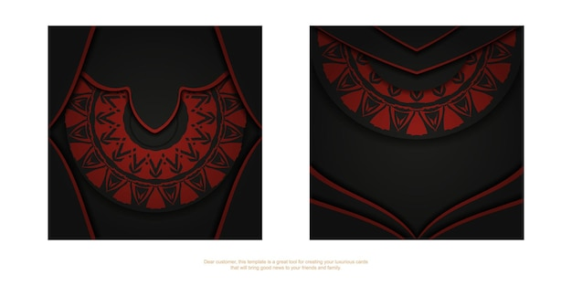 빨간색 그리스 장식이 있는 검은색 엽서의 고급스러운 디자인. 텍스트 및 추상 패턴을 위한 공간이 있는 초대 카드 디자인.