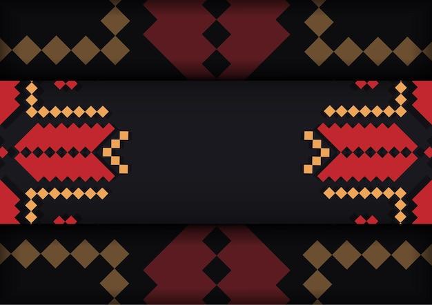 スラブの装飾が施された黒のポストカードの豪華なデザイン。