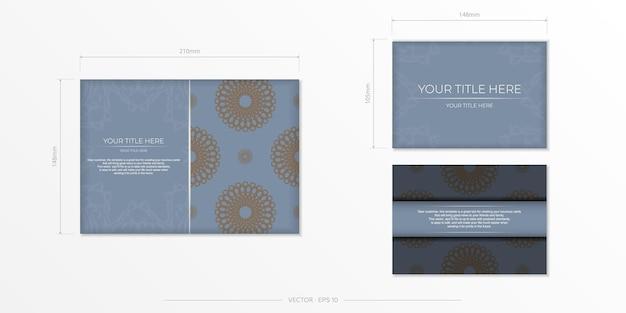 Роскошный дизайн открытки синего цвета с арабскими узорами. стильное приглашение с винтажным орнаментом.