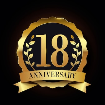 Luxurious eighteenth anniversary logo
