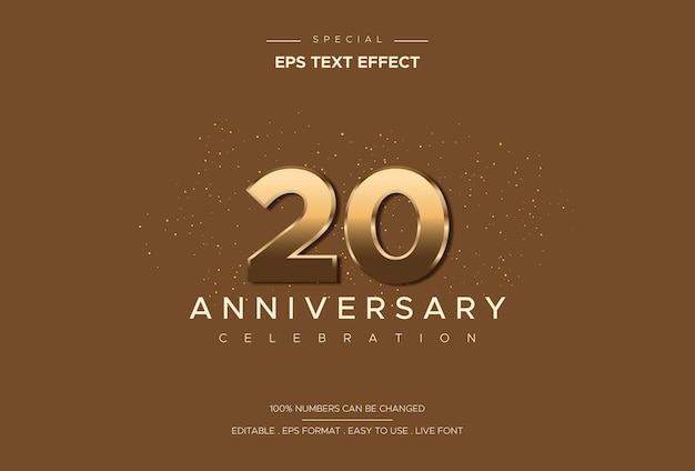 Luxurious and elegant twenty anniversary text effect on gold number on brown background