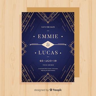Luxurious elegant wedding invitation template