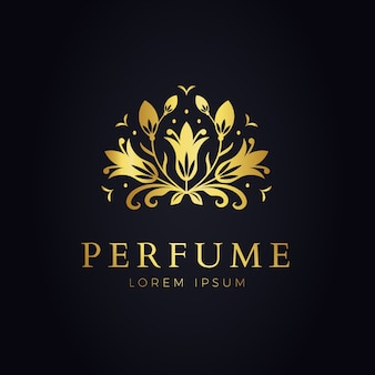 Luxurious floral perfume logo template