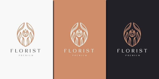 Luxurious floral with line style logo icon design template