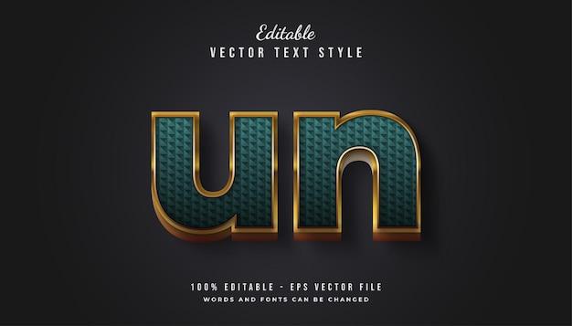 Роскошный золотой и зеленый текстовый стиль с эффектом тиснения и текстуры