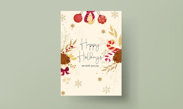 고급스러운 금색과 빨간색 메리 크리스마스 카드 디자인