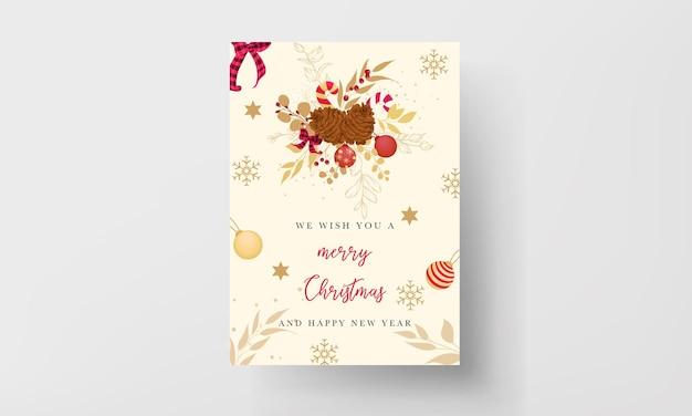 豪華な金と赤のメリークリスマスカードのデザイン
