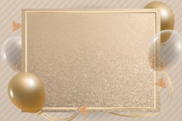 Luxurious gold balloons frame background