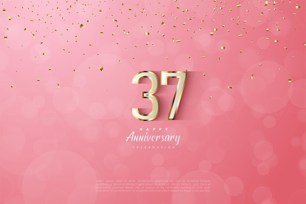 Luxurious gold outlined numbers for the celebration of its 37th anniversary