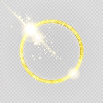 고급스러운 골드 링. 밝은 원과 불꽃 조명 효과.